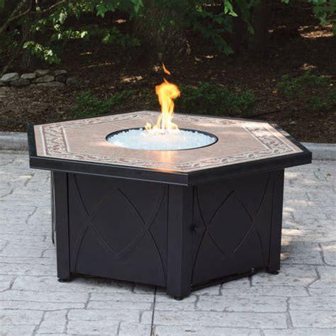 Ceramic Firepit Hex Lp Gas Pit Bowl With Decorative Ceramic Tile
