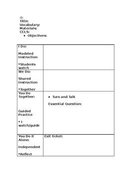 gradual release lesson plan template by kindergarten and
