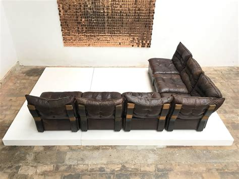 Distressed Leather Sectional Sofa Gypset 1970s Chocolate Brown Distressed Leather Sectional Sofa By Leolux For Sale At 1stdibs
