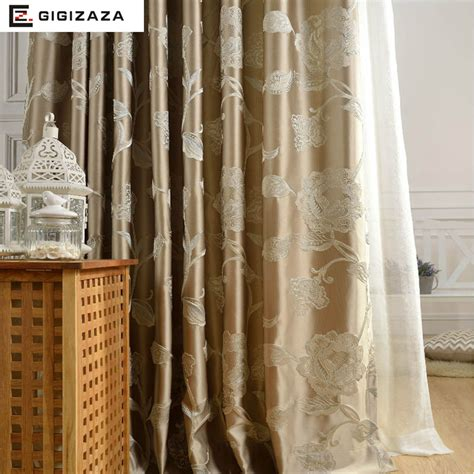 silk flower curtain silk flower jacquard window curtains heavy fabric high
