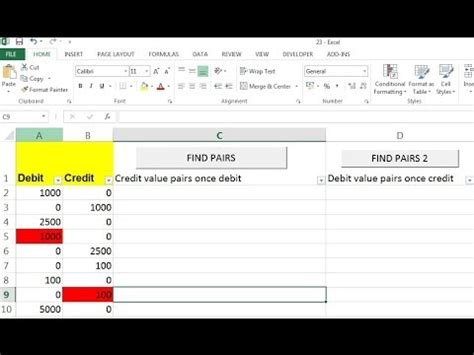 How To Put Debit Credit Formula In Excel How To Find Pairs For Credit And Debit In Excel