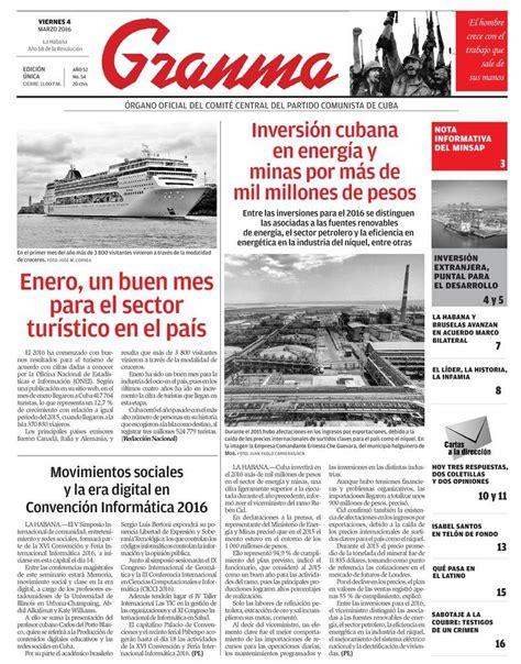 noticias de asignaciones familiares para marzo de 2016 qu 233 trae la prensa cubana viernes 4 de marzo de 2016