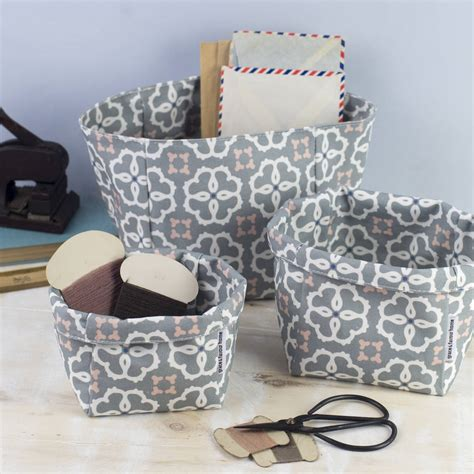 Ines Set ines fabric set of three storage boxes by grace favour home notonthehighstreet