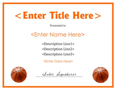 basketball certificates templates free basketball certificate template