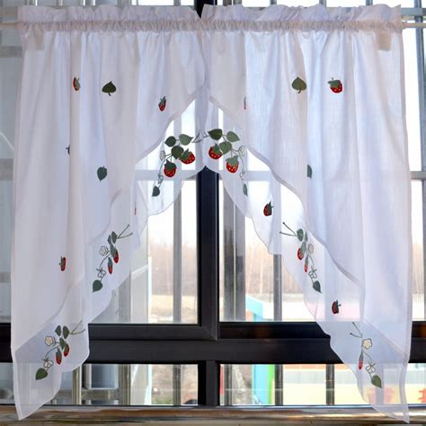 short kitchen curtains strawberry embroidered decorative curtains short kitchen
