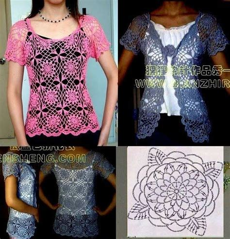 Crochet Lace Motifs In Pink And White Free Patterns pink lace sleeve top with flower motifs free crochet