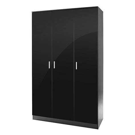 Black Wardrobe With Shelves Ottawa Range Black Gloss Effect 3 Door Wardrobe W Hanging
