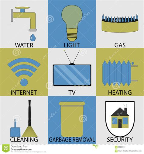 utilities household services icon set modern stock vector