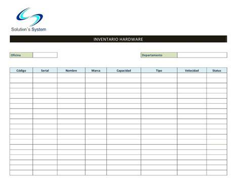 plantilla para inventarios personales formato de inventario hardware software