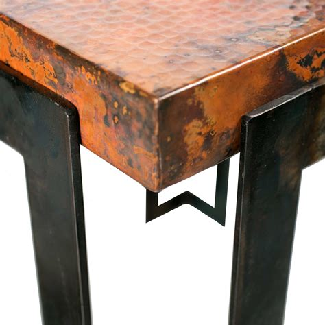 hammered copper dining table steel rectangle dining table with copper top