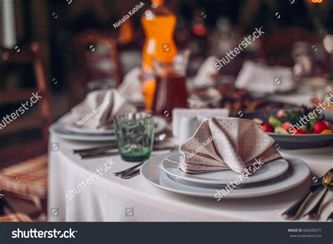 beautifully decorated dinner tables beautifully decorated table restaurant stock photo