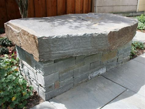 stacked stone bench photo page hgtv