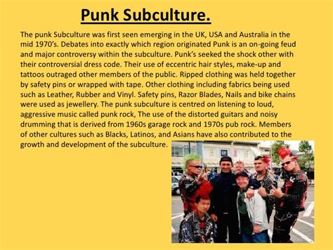 history of the punk subculture wikipedia the free music subcultures 2