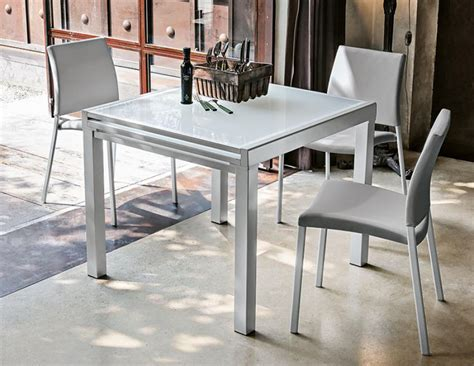 Modern italian white glass extending dining table with optional chairs