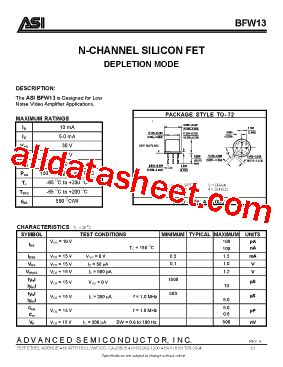 fet transistor part number bfw13 datasheet pdf advanced semiconductor