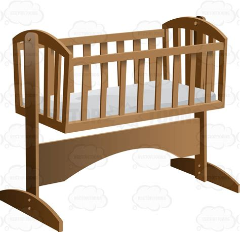 Rocking Baby Crib An Fashioned Rocking Baby Crib With Mattress Clipart Vector