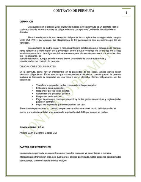 modelo de contrato de permuta 2 contrato permuta by aracely de jesus arvizu labra issuu