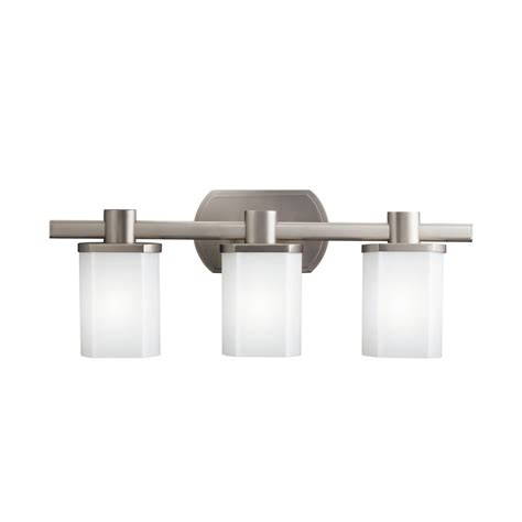 bathroom lighting fixtures brushed nickel shop kichler lege 3 light 9 in brushed nickel rectangle