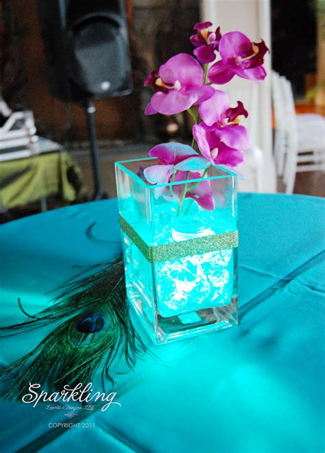 purple and teal wedding centerpieces sparkling events designs real celebration bringing in