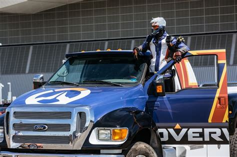 monster truck show boston overwatch s soldier 76 cosplay driver crashes his monster