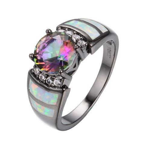 Topaz Gift Card Balance - round cut mystic rainbow topaz opal wedding band rings black gold filled jewelry ebay