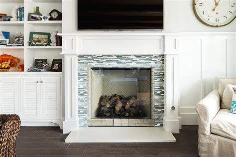 Blue And Gray Glass Fireplace Surround Design Ideas Glass Glass Fireplace Surround