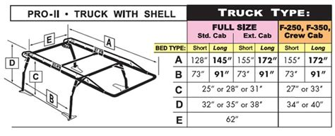 standard truck bed size pro ii truck rack for pickups with caps