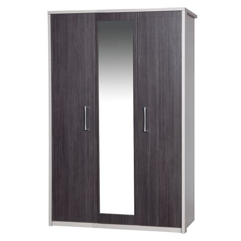 gray wardrobe avola grey 3 door wardrobe with mirror