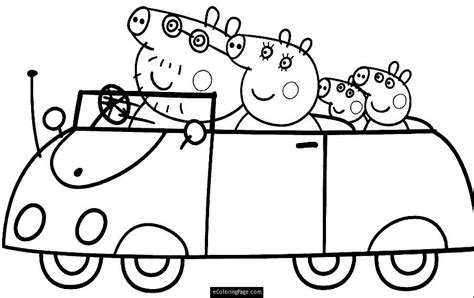 peppa pig characters coloring pages car family peppa pig coloring pages 30724
