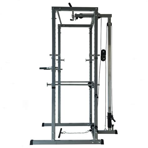 Rack Pull Exercise by Fitness Power Rack W Lat Pull Attachment Weight Holder