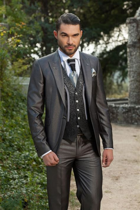 New Slim Fit Groom Tuxedos Shiny Grey Best Groomsman