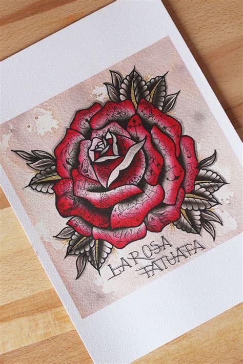 la rosa tatuata stampa old a4 di hardtimestattoo