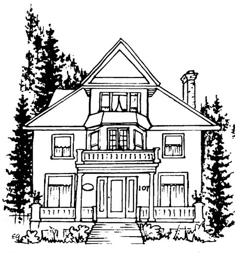Home Drawing by Line Drawing House Clipart Best