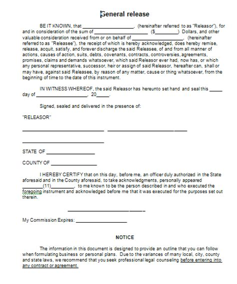 General Release Letter Sle General Release Form Free Printable Documents