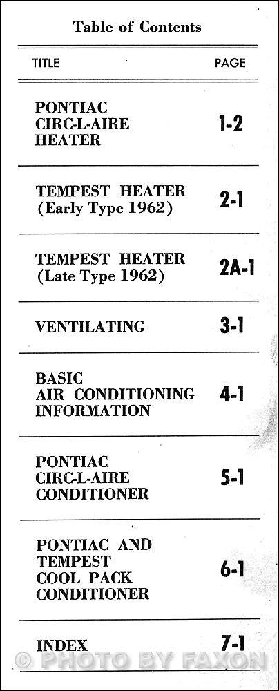 service manual auto air conditioning service 2000 pontiac sunfire regenerative braking 2000 1962 pontiac heating ventilation air conditioning repair shop manual original