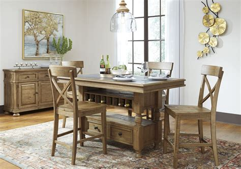 light brown dining table trishley light brown rectangular storage counter height