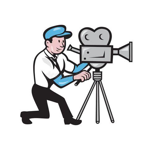 film cartoon gratis cameraman vintage film movie camera side cartoon stock