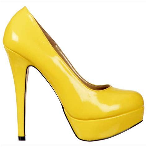 yellow high heels shoes shoekandi high heel stiletto platform shoes