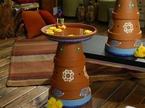 clay pot birdbath diy