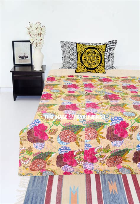 Handmade Quilted Bedspreads - beige flower printed handmade cotton kantha quilted