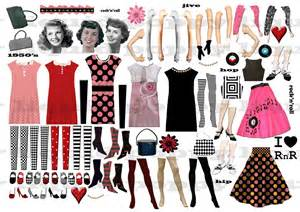 Digital collage sheet 192 retro png and jpeg 1950s clothing and