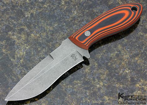Tom Handcrafted Knives - tom krein recurve orange black g10 fixed blade