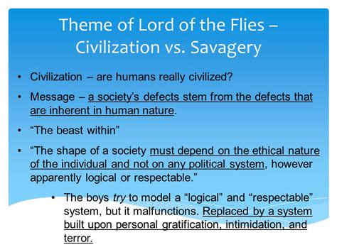 Lord Of The Flies Theme Civilization Vs Savagery Quotes | lord of the flies notes survival simulation elements of
