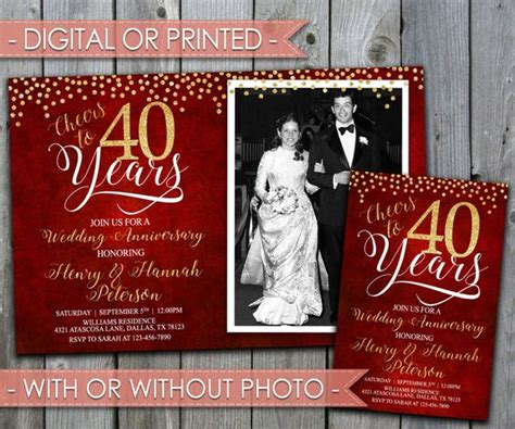 40th wedding anniversary invitation templates wedding anniversary invitations anniversary invitations