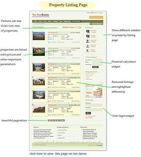 real estate property listing template real estate theme property listings idx mls