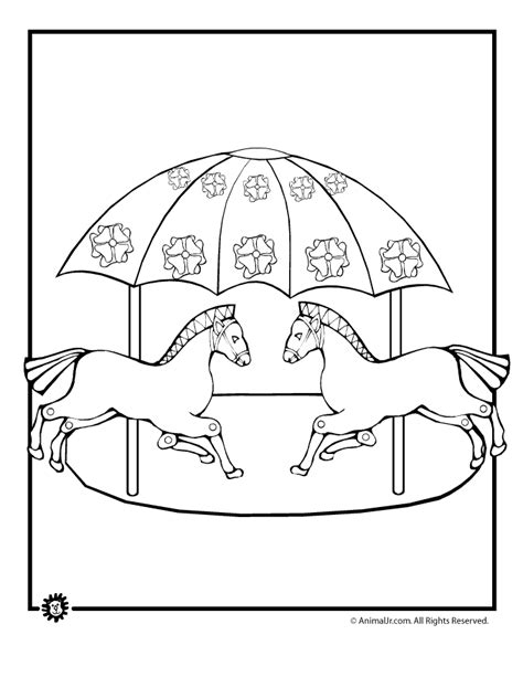merry go round coloring page animal jr