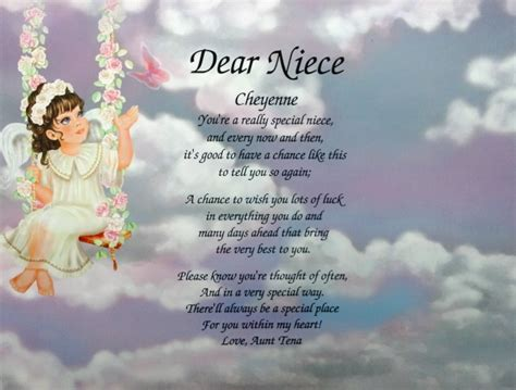 Baby Niece Birthday Quotes Niece Poem Personalized Angel Litho Print Birthday Gift