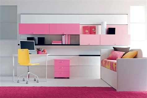 Furniture For Teenage Girls With Pink Wardrobe And Bed