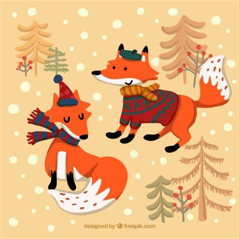 imagenes de invierno con animales zorros de invierno de dibujos animados descargar