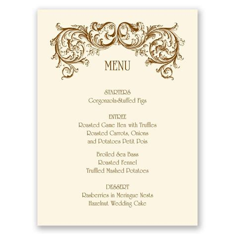 Menu Cards Template Wedding Reception by Filigree Menu Card Invitations By